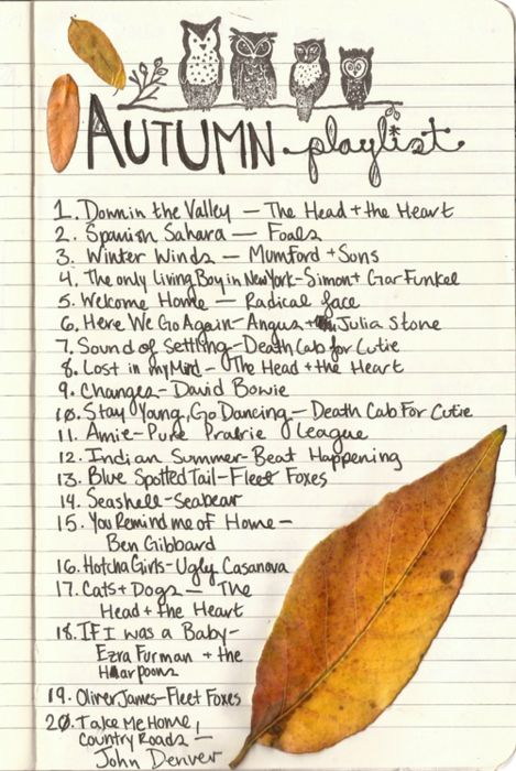 playlists and pasting leaves on the pages