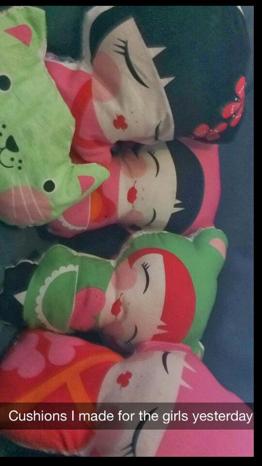 Cutie little 'Hello Tokyo' dolls I made for my bubs. Fabric c/o The Red Thread