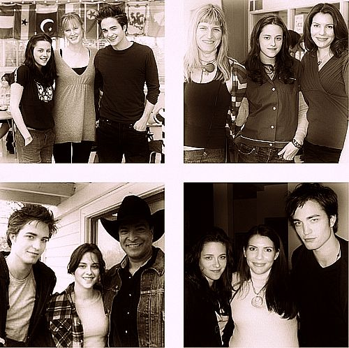 Twilight BTS Kristen and Rob with Melissa Rosenberg (Screenwriter), Catherine Hardwicke (Director), Stephenie Meyer (Author), and Gill Birmingham (Billy Black).