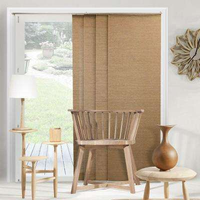 Adjustable Sliding Panel / Cut to Length, Curtain Drape Vertical Blind, Natural Woven, Privacy - Birch Truffle