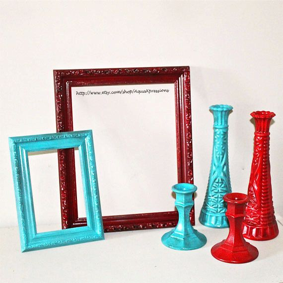 Vase Picture Frame Candle Holders Teal Red By AquaXpressions,