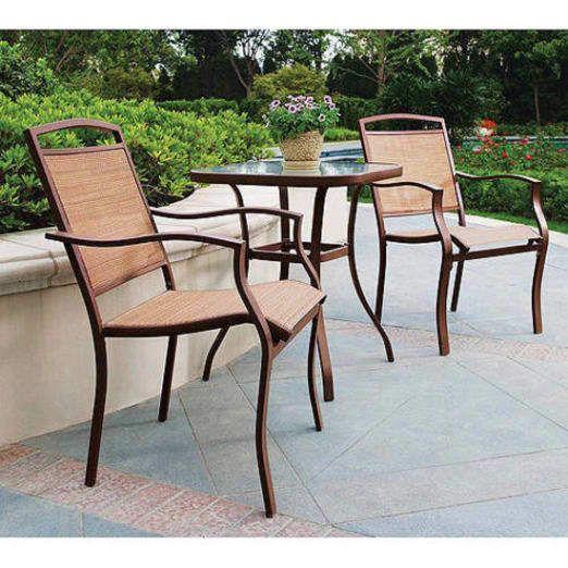 3 piece outdoor bistro patio set garden chairs steel frames seats 2 glass table