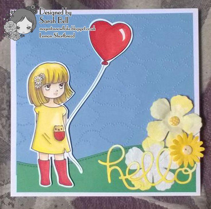 Designed by Sarah Bell for Lemon Shortbread DT - Heart Balloon Girl