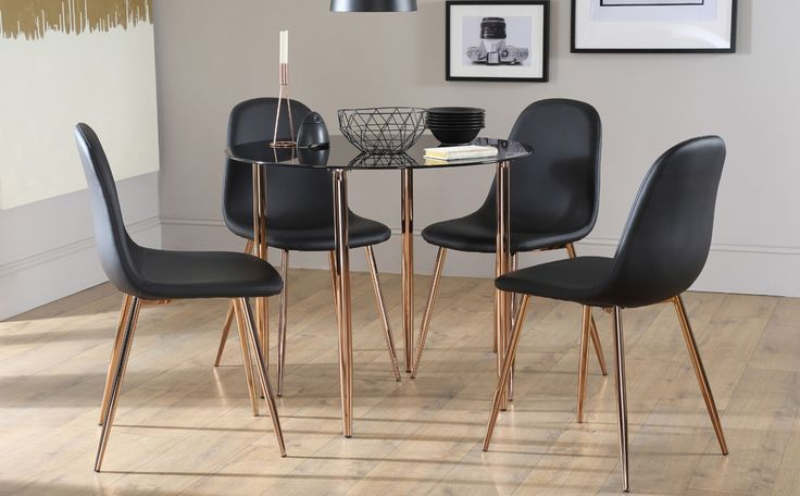 Horizon Round Black Glass Dining Table
