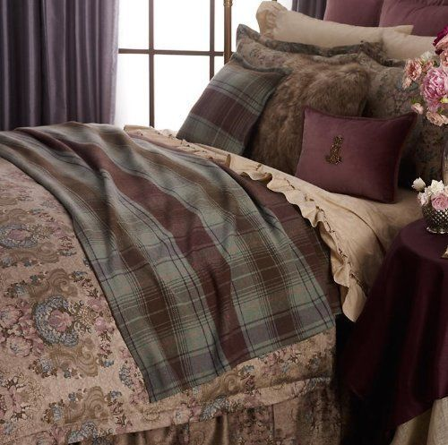Ralph Lauren Margeaux Plaid Brown Green Full Queen Bed