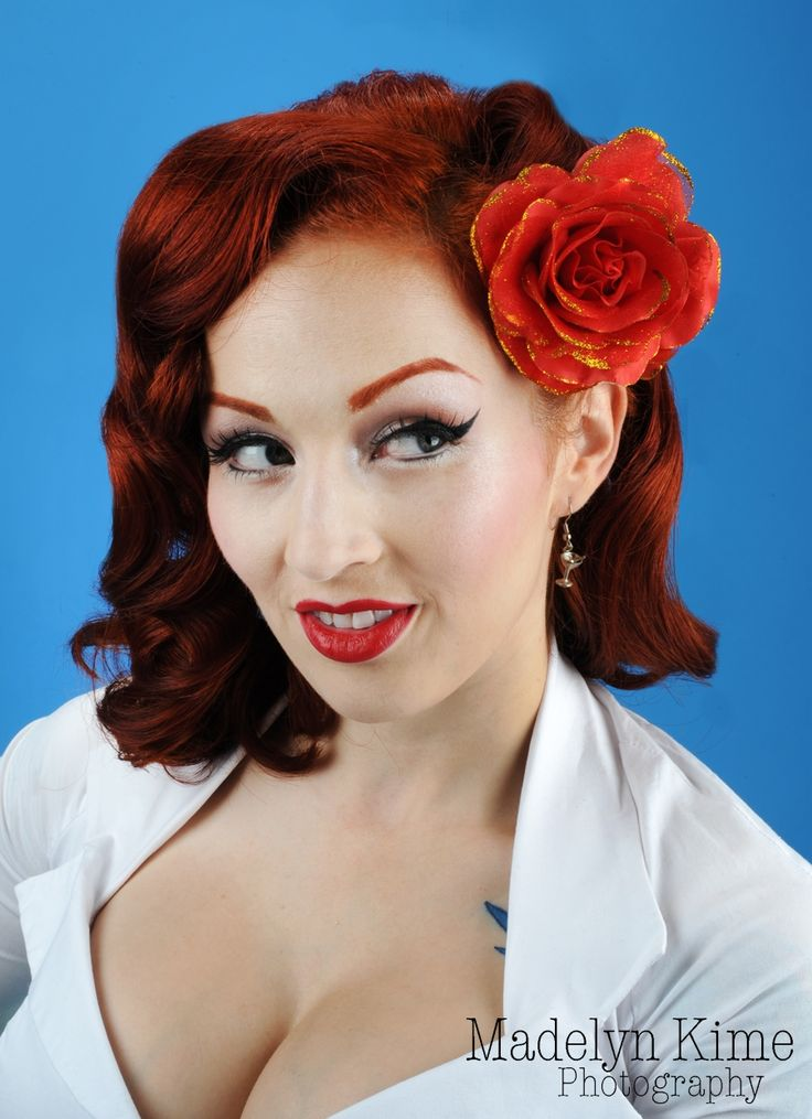 Vintage Style Chiffon and Satin Hair Rose with Glitter in Red: Fashion, Hair Styles, Hairs, Pinup, Glitter, Vintage Style