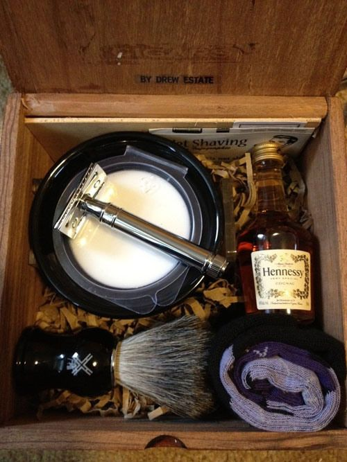 Guy Gift: Manly gift box of shaving supplies, Hennessy, and argyle socks