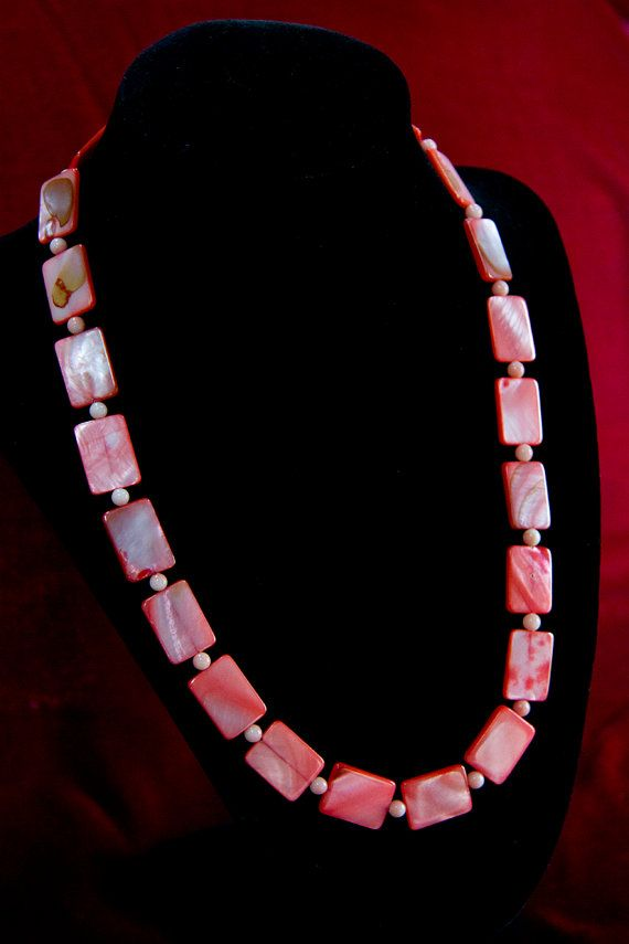 Coral Colored Flat Shell and Coral Bead by anniesgirlshandmade, $15.00