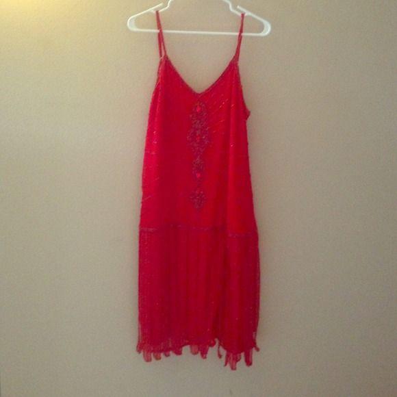 Lipstick red flapper dress Hand beaded lipstick red flapper dress krishma Dresses