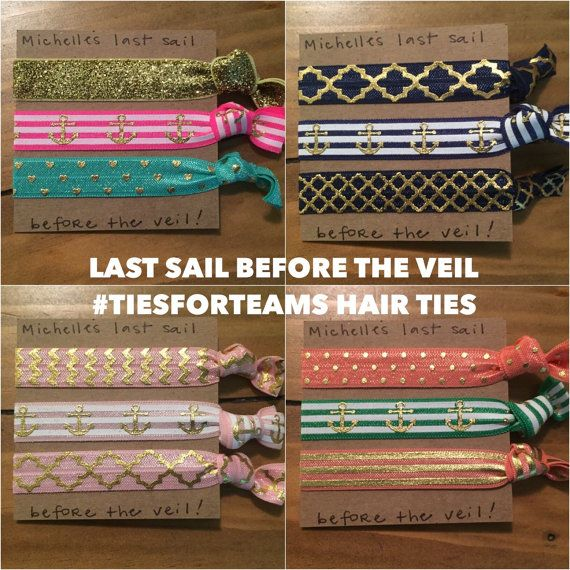 3 hairties: Last Sail Before the Veil | Bachelorette Party Favors | Creaseless Hair Ties Gift Sets