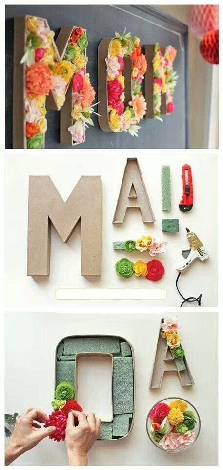 Beautiful wall decor idea for mom on Mother's Day. Perfect for a mom's brunch | Una hermosa idea para decorar la pared para la mamá en el Día de las Madres.