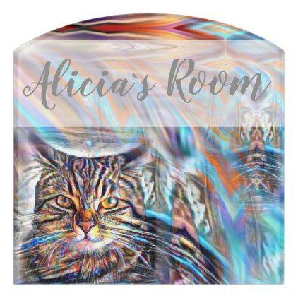 Adrift in Colors Tropical Sunset Cat Door Sign - cat cats kitten kitty pet love pussy