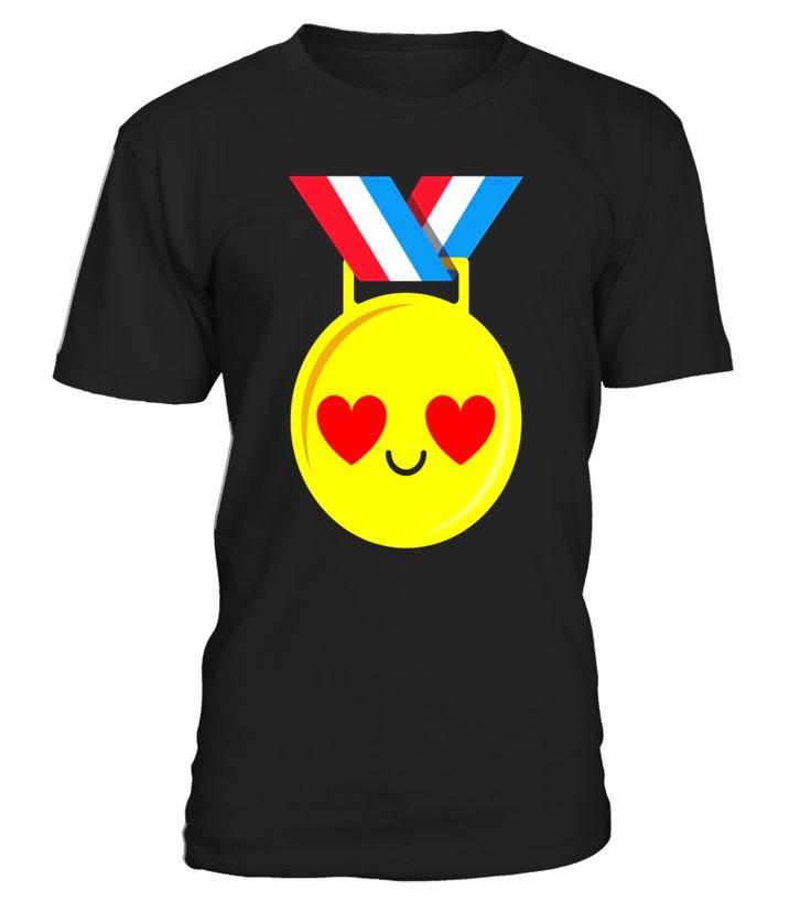 Gold Medal Emoji Heart Eye Shirt T-Shirt Congratulation Tee  Funny Birthday T-shirt, Best Birthday T-shirt