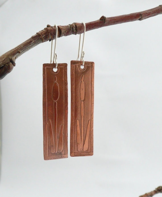 Copper Etched Cattails Earrings on Etsy