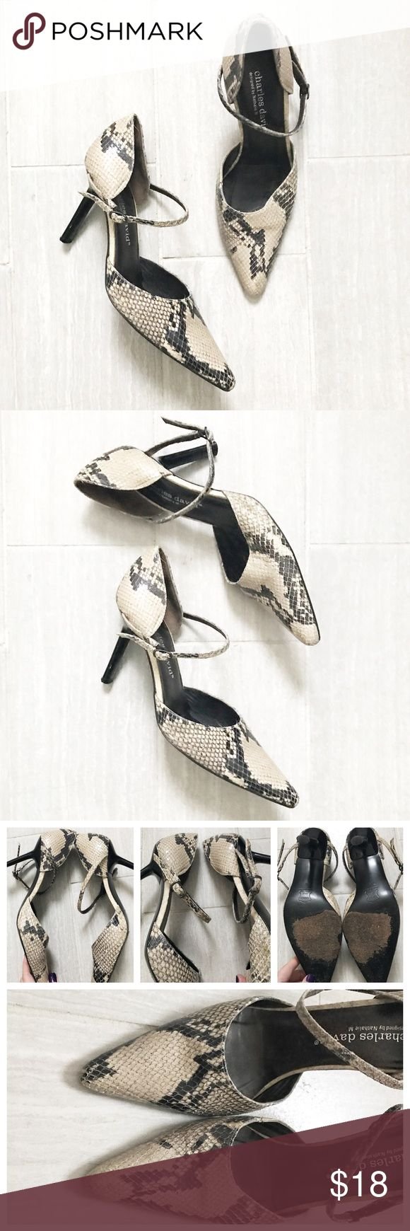 Charles David Snake Skin Pumps Point toe, ankle strap, snake skin print cream and dark grey. Preloved condition - some signs of wear - see photos. Charles David brand. Charles David Shoes