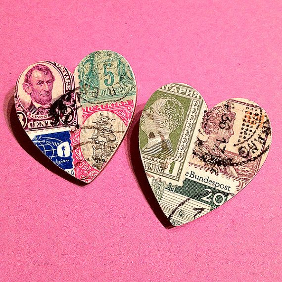 DIY Postage Stamp Heart Brooch