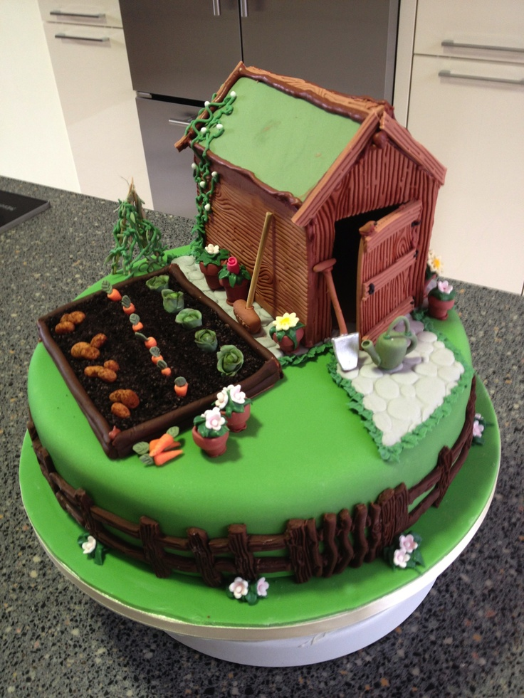 What a great shed and allotment cake! #shedcake #shed #sheddies