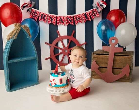 NAUTICAL SMASH CAKE Banner / First Birthday Banner / 1 Year Old Birthday Boy / Cake smash boy / Name banner for nursery / Anchor banner