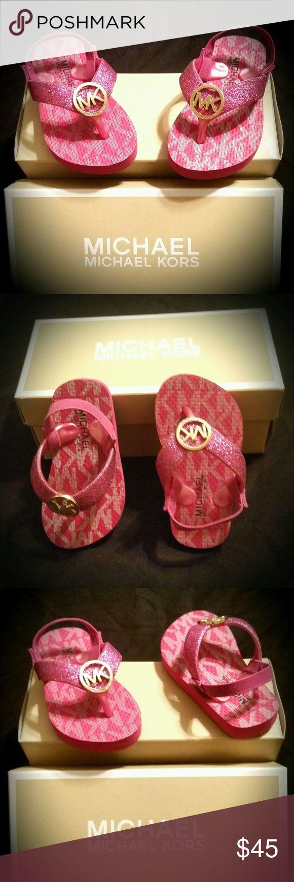 🎉HP🎉 Infant  Michael Kors girls flip-flops Really adorable infant pink Michael Kors girls flip-flops size 5 KORS Michael Kors Shoes Sandals & Flip Flops