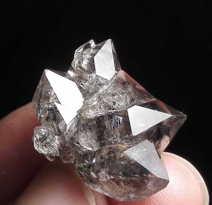 Black Phantom Skeletal Herkimer Diamond Quartz Crystal Point Mineral Specimen