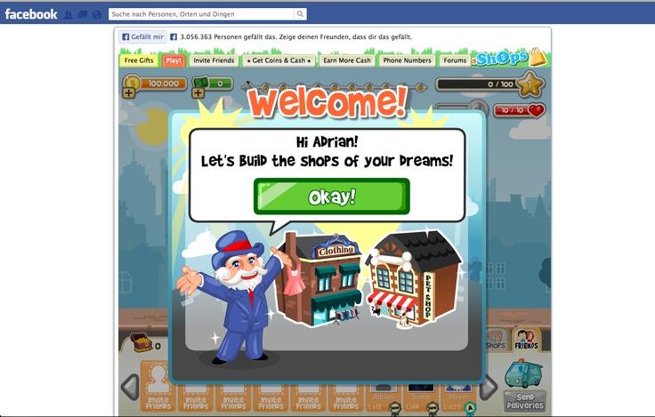 My Shops auf Facebook. 1 Mio Menschen spielen diese Facebook Applikation zur Zeit