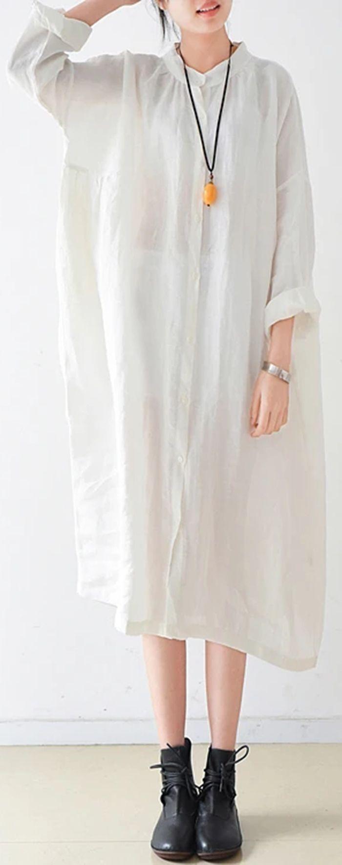White Solid Brief Linen Shirt Dresses Oversize Long Sleeve Maxi Dress Shirt Dress Pattern Shirt Dress Linen Shirt Dress [ 1768 x 700 Pixel ]