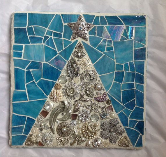 Mosaic Christmas Tree Silver Blue by StrappStudioMosaics on Etsy