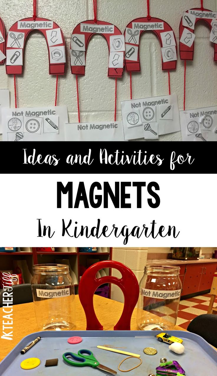 Easy ideas and activities for exploring magnets in kindergarten. The magnet project these students created is fantastic!