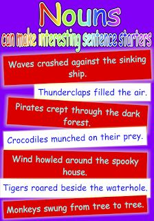 Poster to show that nouns can make great sentence starters that will add variety to children's writing. Free and printable from Classroom Treasures.