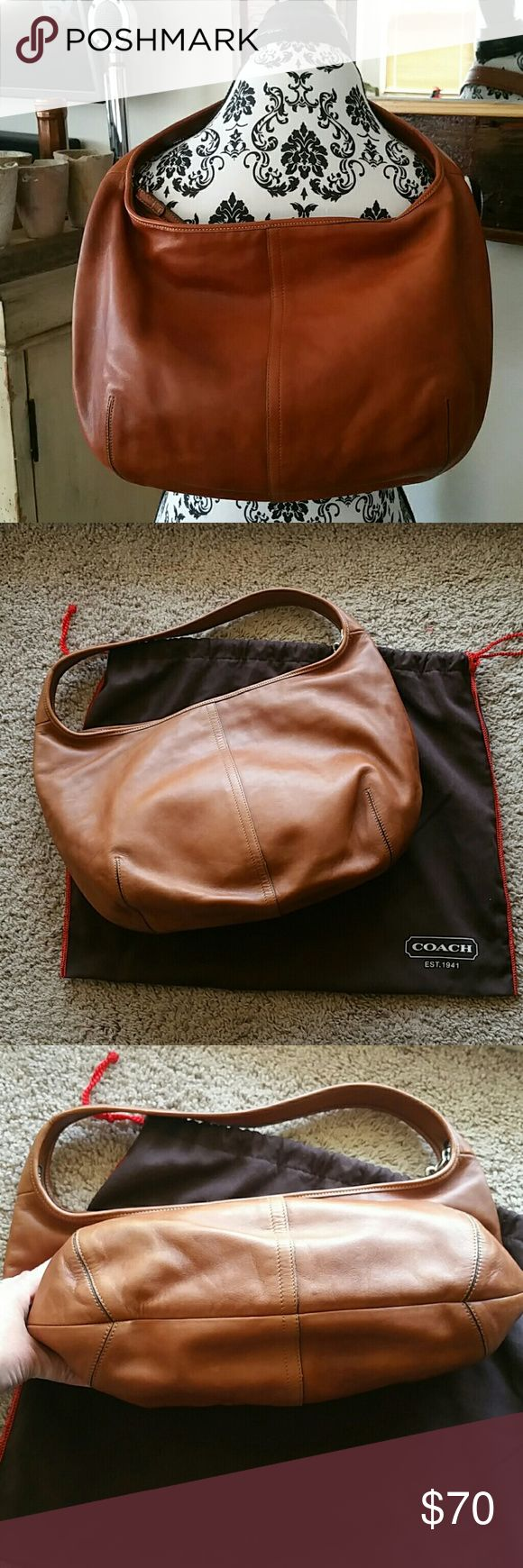 "Coach hobo bag Like new brown leather hobo. Zipper closure,  inside includes large zipper closure pocket, and 2 open top pockets. Solid leather strap, is not adjustable.  Dust cover included. 16"" across,  11.5"" deep. No stains. Very clean. Please ask questions prior to purchase. Coach Bags Hobos"
