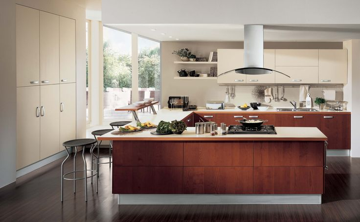 Kitchen. brown wooden kitchen cabinet with storage plus table combined with floating white wooden cabinet and shelves on the gray wall. Charming Contemporary Kitchen Cabinet Designs With Astounding Design