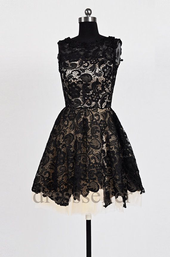 Custom Black Lace Short Prom Dresses Formal by dressseller