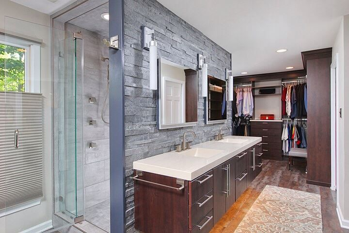 Award wining bathroom designed by Robert Kramer, AKBD. Features Bertch cabinets, Roburn Medicine Cabinets, Brizzio faucets & shower fixtures. Toto toilet with bidet seat