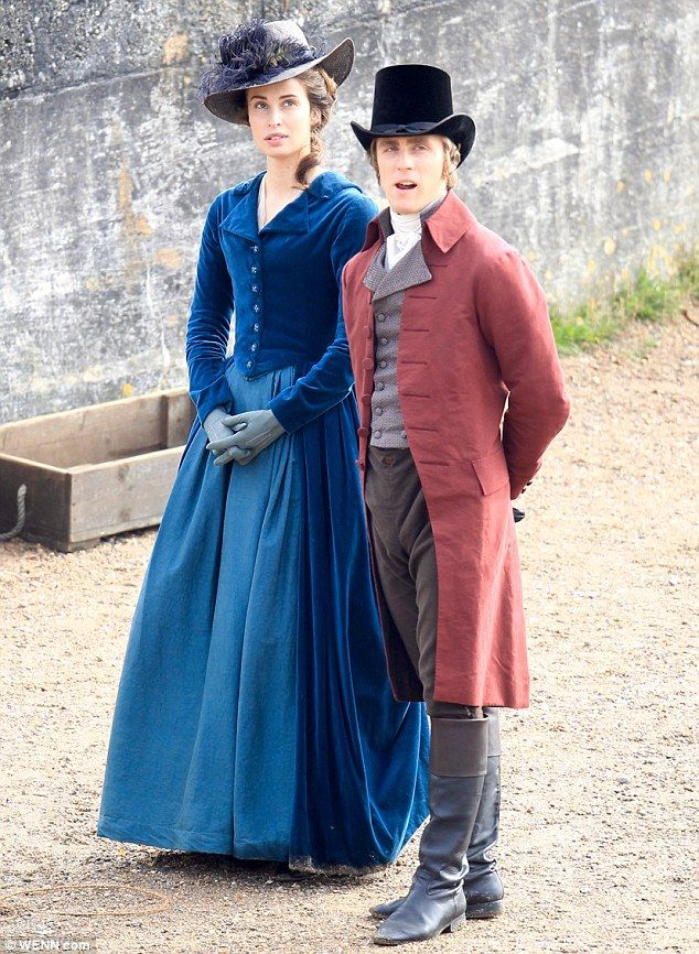 Back to work: Heida Reed and Jack Farthing were seen filming the second series of Poldark in Penzance, Cornwall on Monday