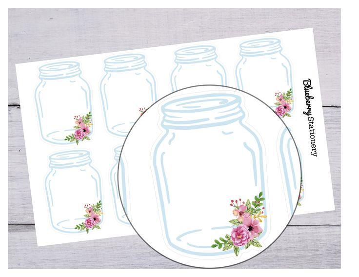 Mason jar glass. Planner Stickers Planner. Office sticker. Letter stickers. stationery. Filofax. scrapbook. Project life de la boutique BlueberryStationery sur Etsy