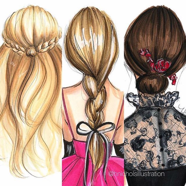 Who doesn't like a good hair day? (My curls would never cooperate with these styles but a girl could dream ). #fashionsketch #fashionillustration #fashionillustrator #boston #bostonblogger #bostonillustrator #copic #copicmarkers #hairillustration #instabraid #braid #hnicholsillustration