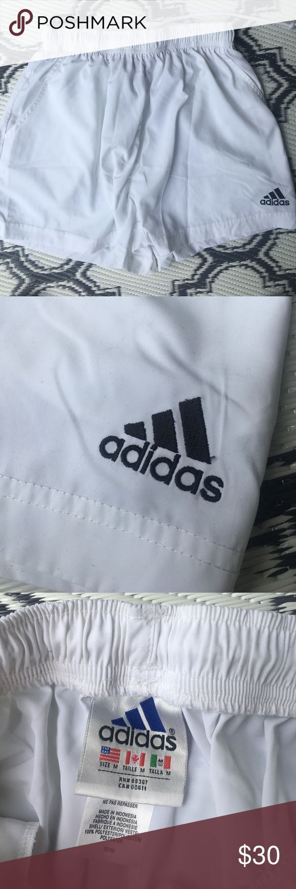 ADIDAS WHITE SHORTS SIZE MEDIUM ATHLETIC LIKE NEW ADIDAS SHORTS!! Size medium. Pockets. I love these shorts so much but they don't fit! adidas Shorts