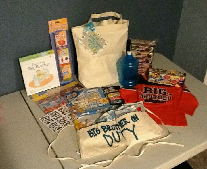 Big brother kit . Stickers, cars, cookies, big brother book, big brother shirt, playdough,big brother on duty bathing tool belt, big brother water bottle, and flash card games.