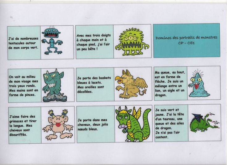 A great French domino-style monster description game... Shows kids how important it is to be specific in their descriptions!