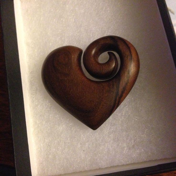 Carved rosewood heart/koru #heart#koru#rosewood#carving