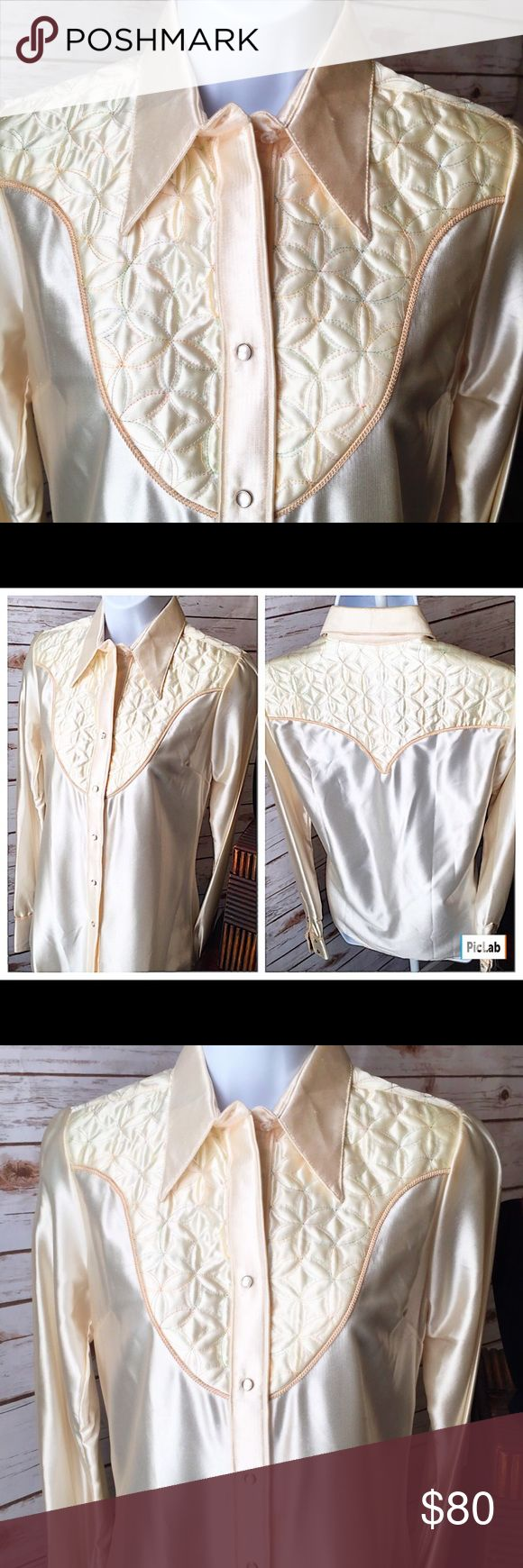 Vintage Rockmount Custom fitted western show shirt Vintage Rockmount Custom fitted western show shirt with pearl snaps.  Mint condition. Used only for photo shoot size 32 Rockmount Tops Button Down Shirts
