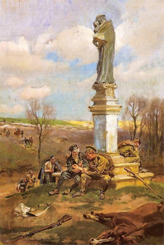 Wojciech Kossak. Po bitwie - relugium silentium  1915. Olej na płótnie. 107 x 73 cm.   Własność prywatna.