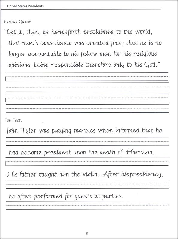 45 united states presidents character writing worksheets getty dubay italic advanced cursive. Black Bedroom Furniture Sets. Home Design Ideas
