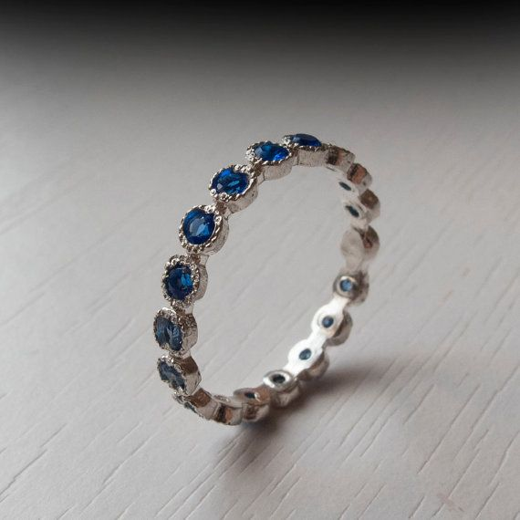 Blue Sapphire Eternity ring, Dainty and lovely Full of Elegance and beauty. This Original Ardonn handmade ring features between 15-25 Real Sapphire
