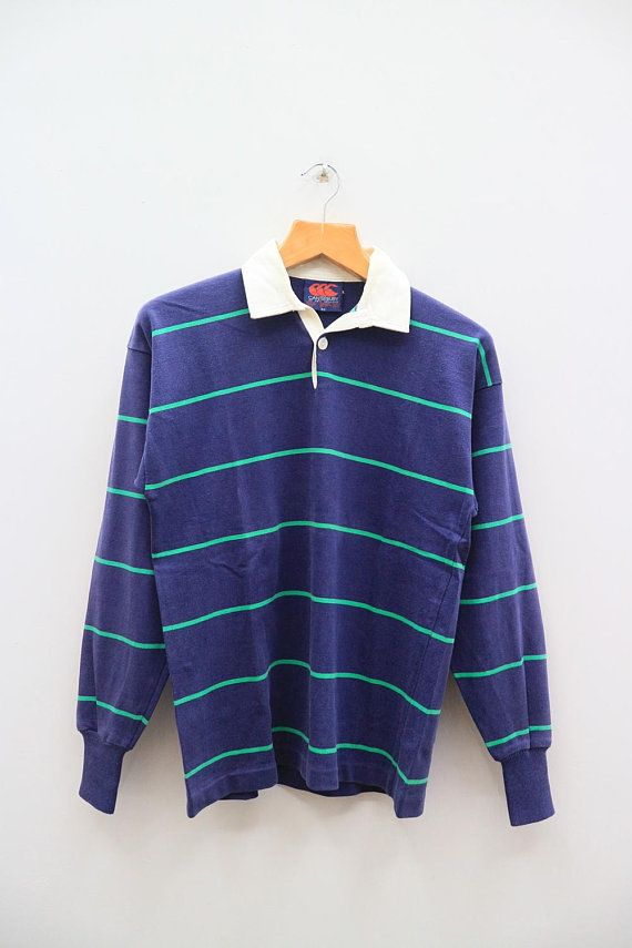 Vintage Canterbury Of New Zealand Sportswear Stripes Blue Rugby Polo Shirt Size M Weird Shirts Shirts Sportswear