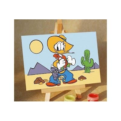 Melukis Sendiri Cowboy Donald - Melukis Sendiri    Cowboy Donald  10X15  termasuk : Kanvas, Cat Lengkap, Kuas, Stand untuk Melukis, Brightener