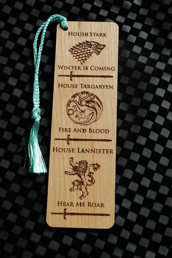 Game Of Thrones Style Bookmark, GOT Bookmark, GOT, Wood Bookmark, House Stark Bookmark,