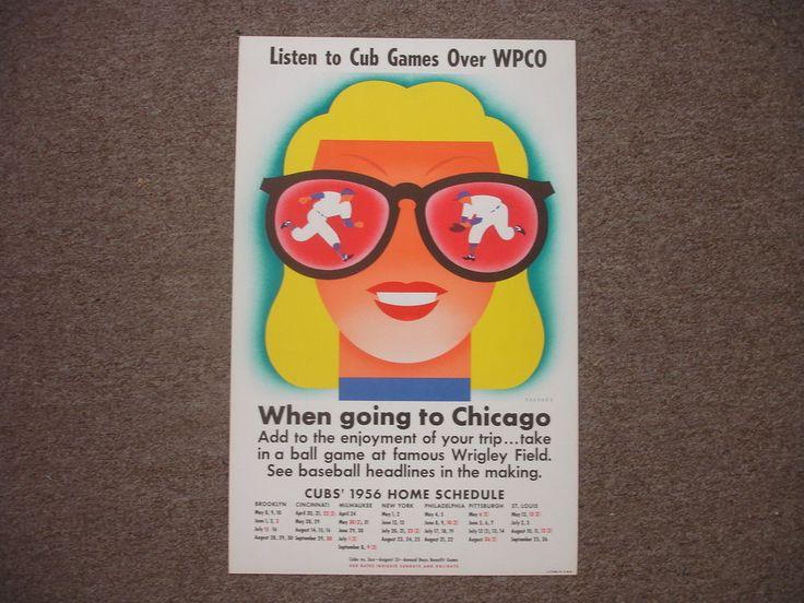 Original 1956 Chicago Cubs Baseball Schedule Poster Display – 14″ x 22″