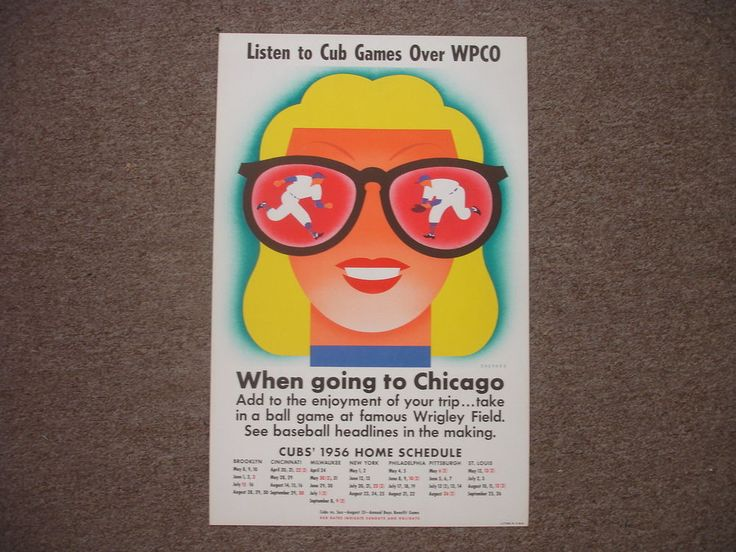 Original 1956 Chicago Cubs Baseball Schedule Poster Display – 14″ x 22″