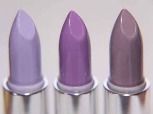 The lavender row: Lime Crime lipsticks in D'Lilac, Airborne Unicorn and Chinchilla.